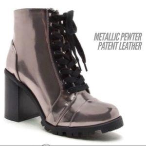 Qupid Metallic Silver Booties